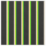 [ Thumbnail: Lime, Yellow, Beige, and Black Pattern of Stripes Fabric ]