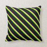 [ Thumbnail: Lime, Yellow, Beige, and Black Pattern of Stripes Throw Pillow ]