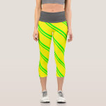 [ Thumbnail: Lime & Yellow Colored Stripes Leggings ]