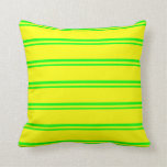 [ Thumbnail: Lime & Yellow Colored Stripes Throw Pillow ]