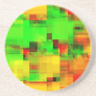 Lime Yellow Geometric Design Drink Coaster