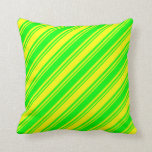 [ Thumbnail: Lime & Yellow Stripes Throw Pillow ]