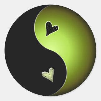 lime yin yang classic round sticker