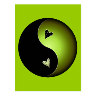 lime yin yang postcard