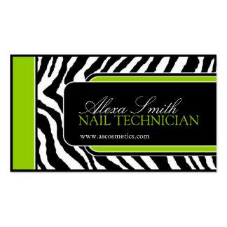Lime Zebra Print  Business Card