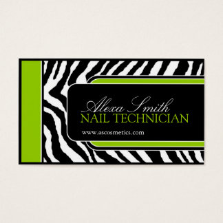Bold nail technician business cards templates zazzle lime zebra print business card reheart Image collections