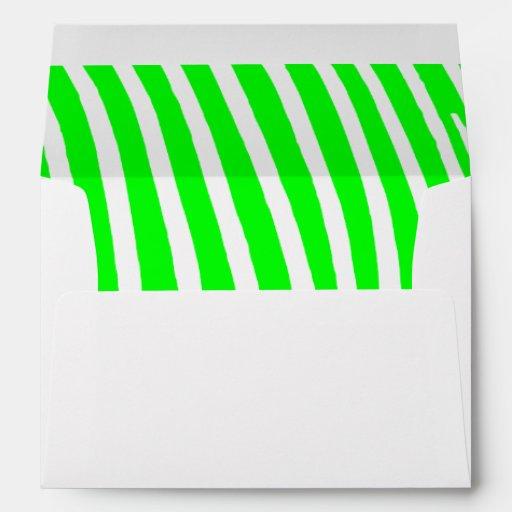 Lime Zebra Stripes Envelopes
