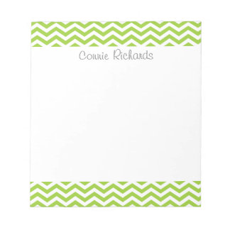 Lime zigzag pattern notepad