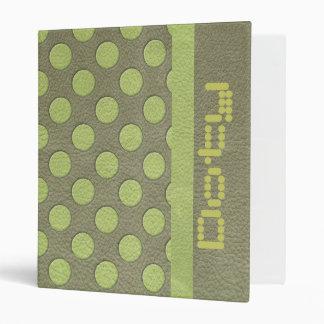 LimeGreen Polka Dots on Khaki Leather Print Binder