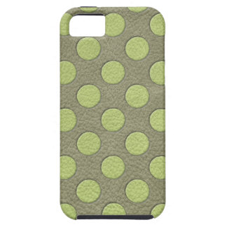 LimeGreen Polka Dots on Khaki Leather Print iPhone SE/5/5s Case