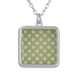 LimeGreen Polka Dots on Khaki Leather Print Silver Plated Necklace
