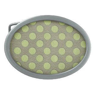 LimeGreen Polka Dots on Khaki Leather Texture Oval Belt Buckles