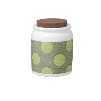 LimeGreen Polka Dots on Khaki Leather Texture Candy Jars