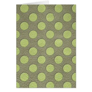 LimeGreen Polka Dots on Khaki Leather Texture Cards