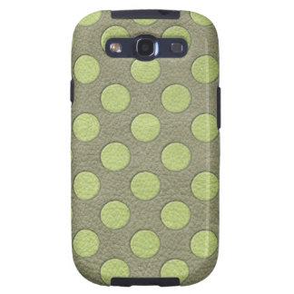 LimeGreen Polka Dots on Khaki Leather Texture Galaxy S3 Cases