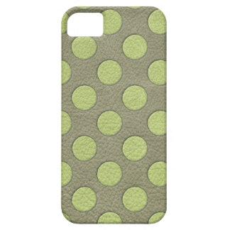 LimeGreen Polka Dots on Khaki Leather Texture iPhone 5 Cover