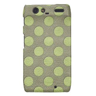LimeGreen Polka Dots on Khaki Leather Texture Motorola Droid RAZR Cases