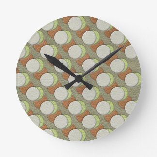 LimeGreen Polka Dots on Khaki Leather Texture Round Clock