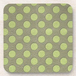 LimeGreen Polka Dots on Khaki Leather Texture Coaster