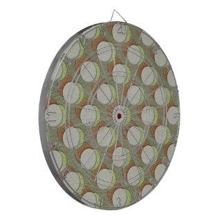 LimeGreen Polka Dots on Khaki Leather Texture Dartboard With Darts