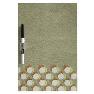 LimeGreen Polka Dots on Khaki Leather Texture Dry-Erase Whiteboard