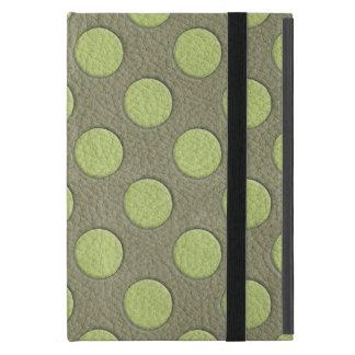 LimeGreen Polka Dots on Khaki Leather Texture Case For iPad Mini