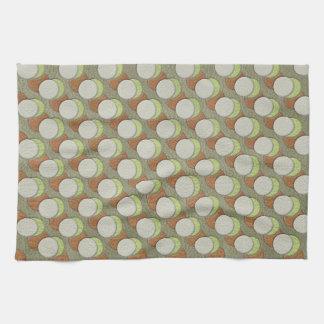 LimeGreen Polka Dots on Khaki Leather Texture Hand Towels