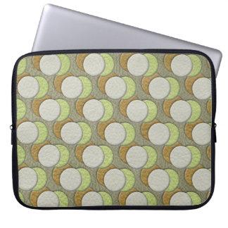 LimeGreen Polka Dots on Khaki Leather Texture Computer Sleeves