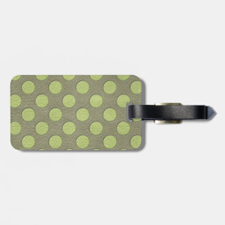 LimeGreen Polka Dots on Khaki Leather Texture Tag For Bags