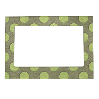 LimeGreen Polka Dots on Khaki Leather Texture Picture Frame Magnet
