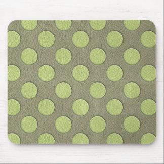LimeGreen Polka Dots on Khaki Leather Texture Mousepads