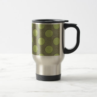 LimeGreen Polka Dots on Khaki Leather Texture Coffee Mugs