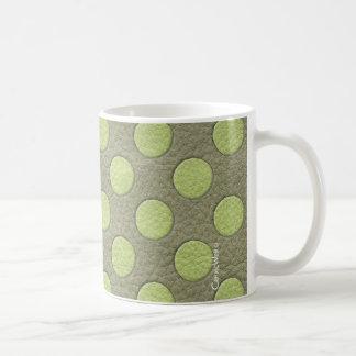 LimeGreen Polka Dots on Khaki Leather Texture Mugs