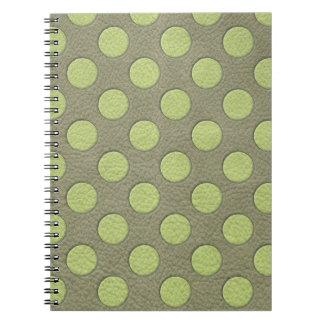 LimeGreen Polka Dots on Khaki Leather Texture Spiral Note Book