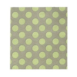 LimeGreen Polka Dots on Khaki Leather Texture Scratch Pads