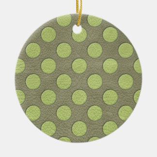 LimeGreen Polka Dots on Khaki Leather Texture Ornaments