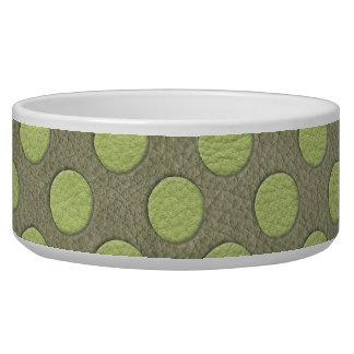 LimeGreen Polka Dots on Khaki Leather Texture Dog Food Bowls
