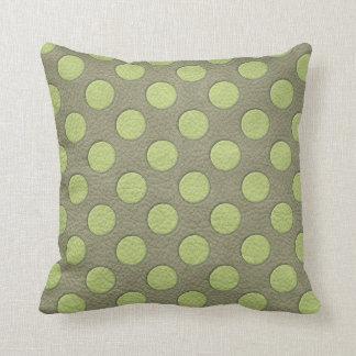 LimeGreen Polka Dots on Khaki Leather Texture Throw Pillows