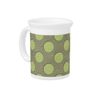 LimeGreen Polka Dots on Khaki Leather Texture Beverage Pitcher