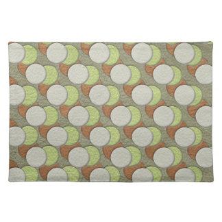 LimeGreen Polka Dots on Khaki Leather Texture Placemat