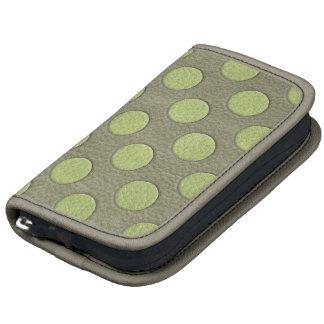 LimeGreen Polka Dots on Khaki Leather Texture Folio Planners