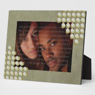 LimeGreen Polka Dots on Khaki Leather Texture Plaque