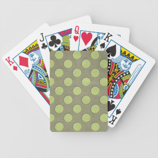 LimeGreen Polka Dots on Khaki Leather Texture Playing Cards