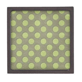 LimeGreen Polka Dots on Khaki Leather Texture Premium Jewelry Boxes
