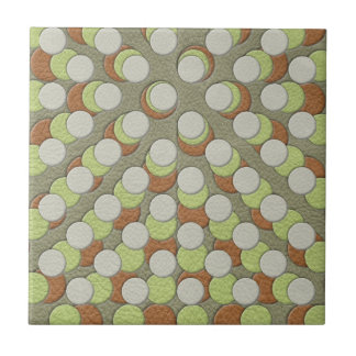 LimeGreen Polka Dots on Khaki Leather Texture Ceramic Tiles