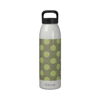 LimeGreen Polka Dots on Khaki Leather Texture Drinking Bottles