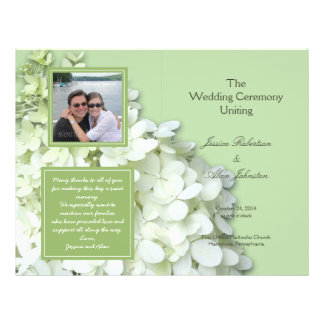 Limelight Hydrangea Photo Wedding Program