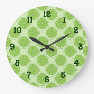 Limes Pattern Background Large Clock