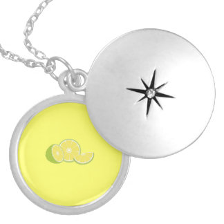 limes round locket necklace