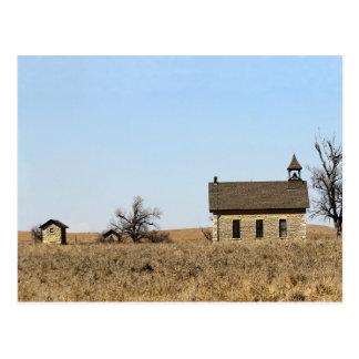 Limestone Bichet Schoolhouse in Kansas Postcard